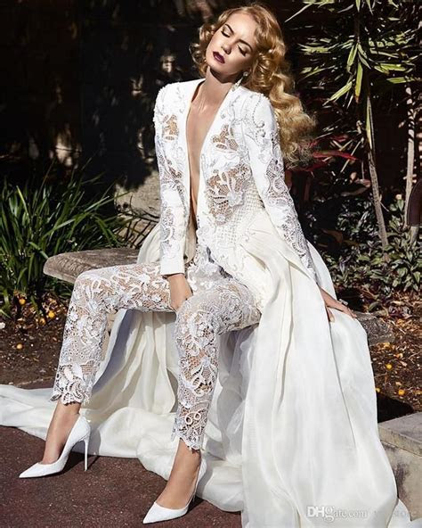 long sleeves lace jumpsuit wedding dresses