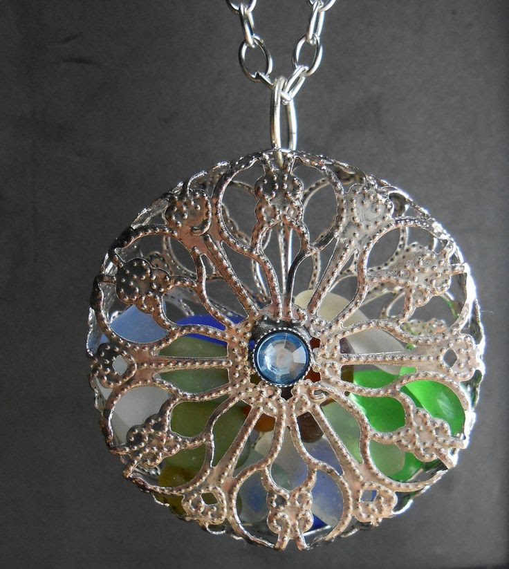 Sea Glass Jewelry - Cage Locket Necklace - KALEIDOSCOPE. -My friend, Tracy. check out her spectacular sea-glass jewelry