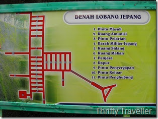 Map Showing Network of Tunnels at Japanese Caves at Taman Panorama, Bukittinggi