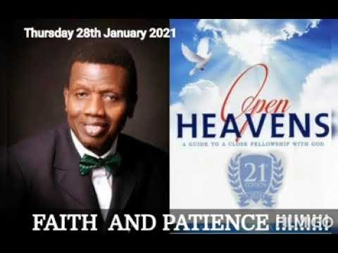 Open Heaven 28 January 2021 – Faith and Patience