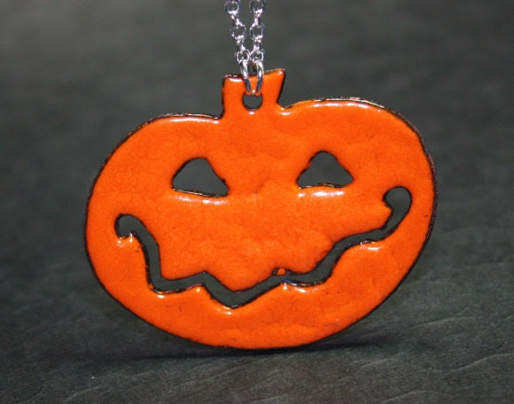 Halloween Orange and Dark Gray Enamel Copper Pumpkin Pendant necklace Free U S A Shipping