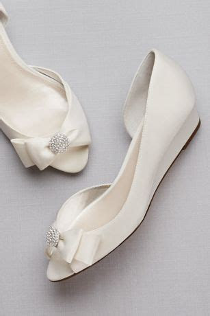 Bow Embellished Satin D'Orsay Wedges   David's Bridal