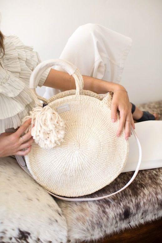 Le Fashion Blog White Ruffled Blouse Cream Woven Circle Tote Bag Wide Leg Pants Black Sandals Via Clare V