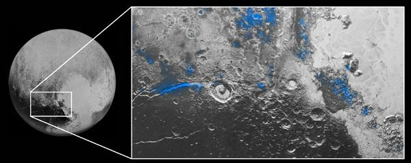 Regions with exposed water ice are highlighted in blue in this composite image from New Horizons' Ralph instrument...taken during the spacecraft's flyby of Pluto on July 14, 2015.