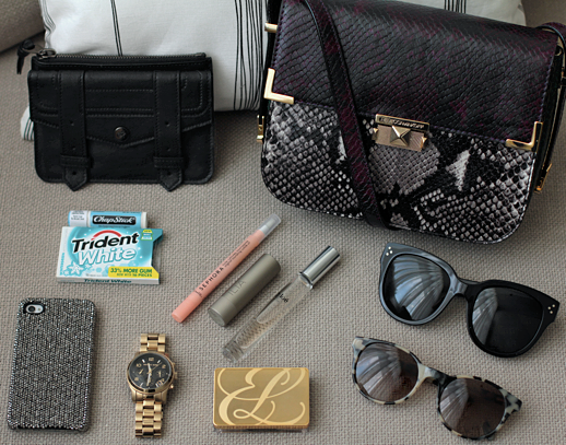 LE FASHION BLOG WHATS IN MY BAG REBECCA MINKOFF KISS KISS BURGUNDY GREEN BLACK COLOR BLOCK JEWEL TONE SNAKE SKIN PYTHON EMBOSSED SHOULDER CROSS BODY BAG PROENZA SCHOULER SMALL ZIP CASE SEPHORA CUTICLE OIL PEN CHLOE PERFUME ROLL ON ILIA TINTED LIP CONDITIONER BANG BANG ESTEE LAUDER COMPACT CELINE LARGE AUDREY SUNGLASSES PRISM PARIS TORT  SUNGLASSES MICHAEL KORS GOLD WATCH TRIDENT WHITE GUM MEDICATED CHAPSTICK SPARKLY RHINESTONE IPHONE CASE CELLAIRIS