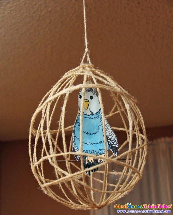 Iplerle Kuş Kafesi Yapalım Okul öncesi Etkinlikleri