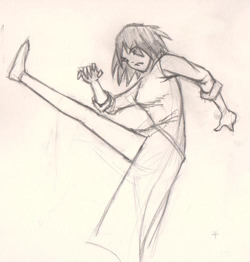 draw manga action pose kick
