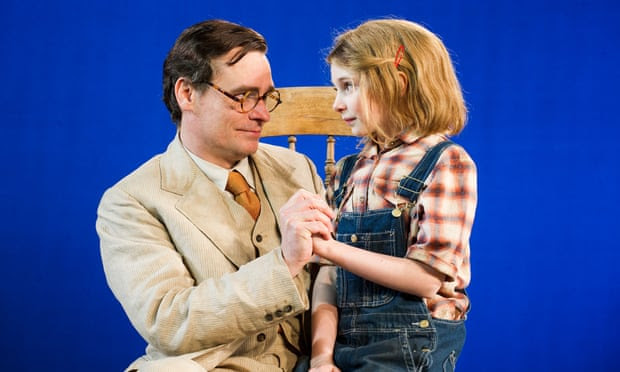 Robert Sean Leonard as Atticus Finch, with Eleanor Worthington-Cox as Scout, in a 2013 stage production of To Kill a Mockingbird.