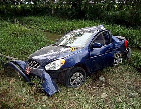 Estado del coche tras el accidente.