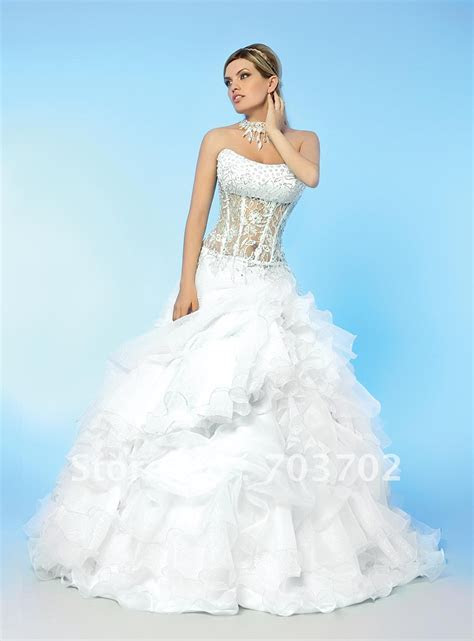 Popular style strapless beaded corset ball gown organza