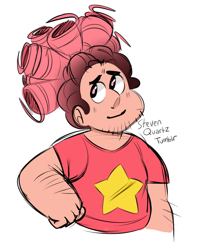 he's a big boy with big curly hair…….OK BUT I STILL LOVE PINK-HAIRED STEVEN    [don't tag as kin/me]