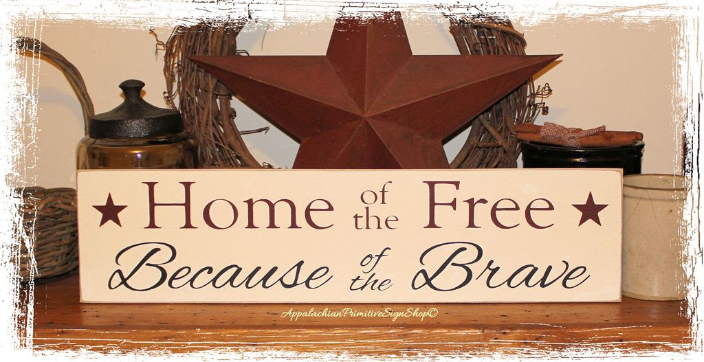 Home Of The Free Because Of The Brave Wood Sign Decor Summer Independence Day Usa Americana Country Handpainted White Red Blue
