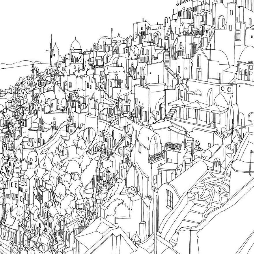 раскраски книга-взрослых-фантастические-города-Стив Макдональд-25