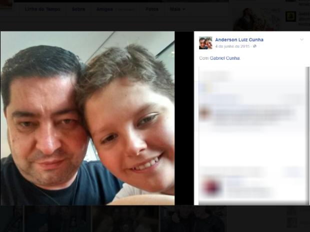 Anderson Cunha, de 43 anos, seu filho, Gabriel Cunha, de 12 anos (Foto: Reprodução/Facebook)