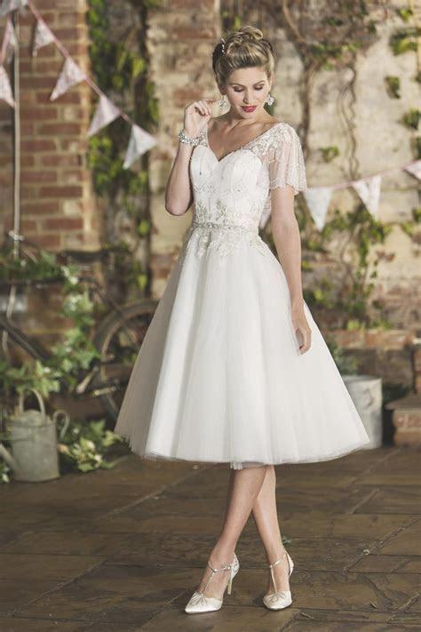 Chloe   Vintage Style Embroidered Short Wedding Dress
