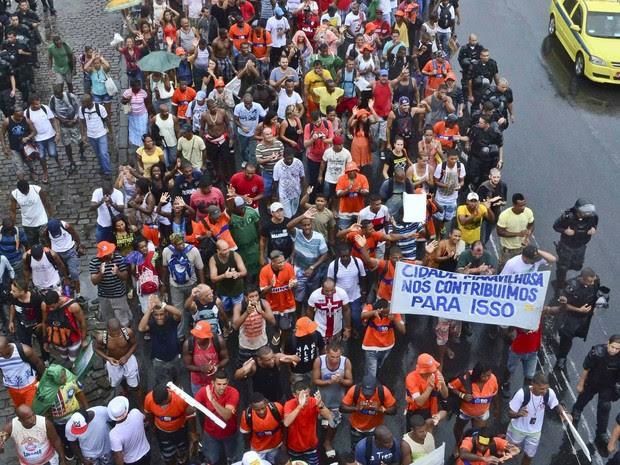 protesto garis centro (Foto: Ilan Pellenberg/Futura Press/Estadão Conteúdo)