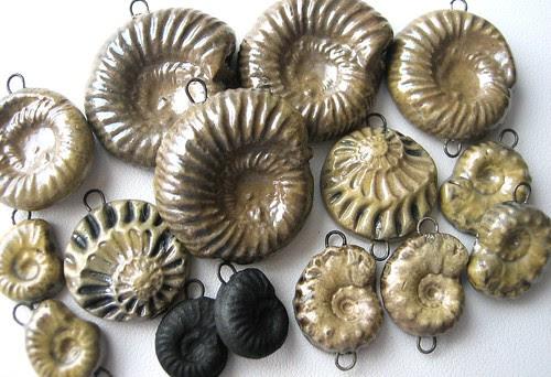 Raku fossil beads
