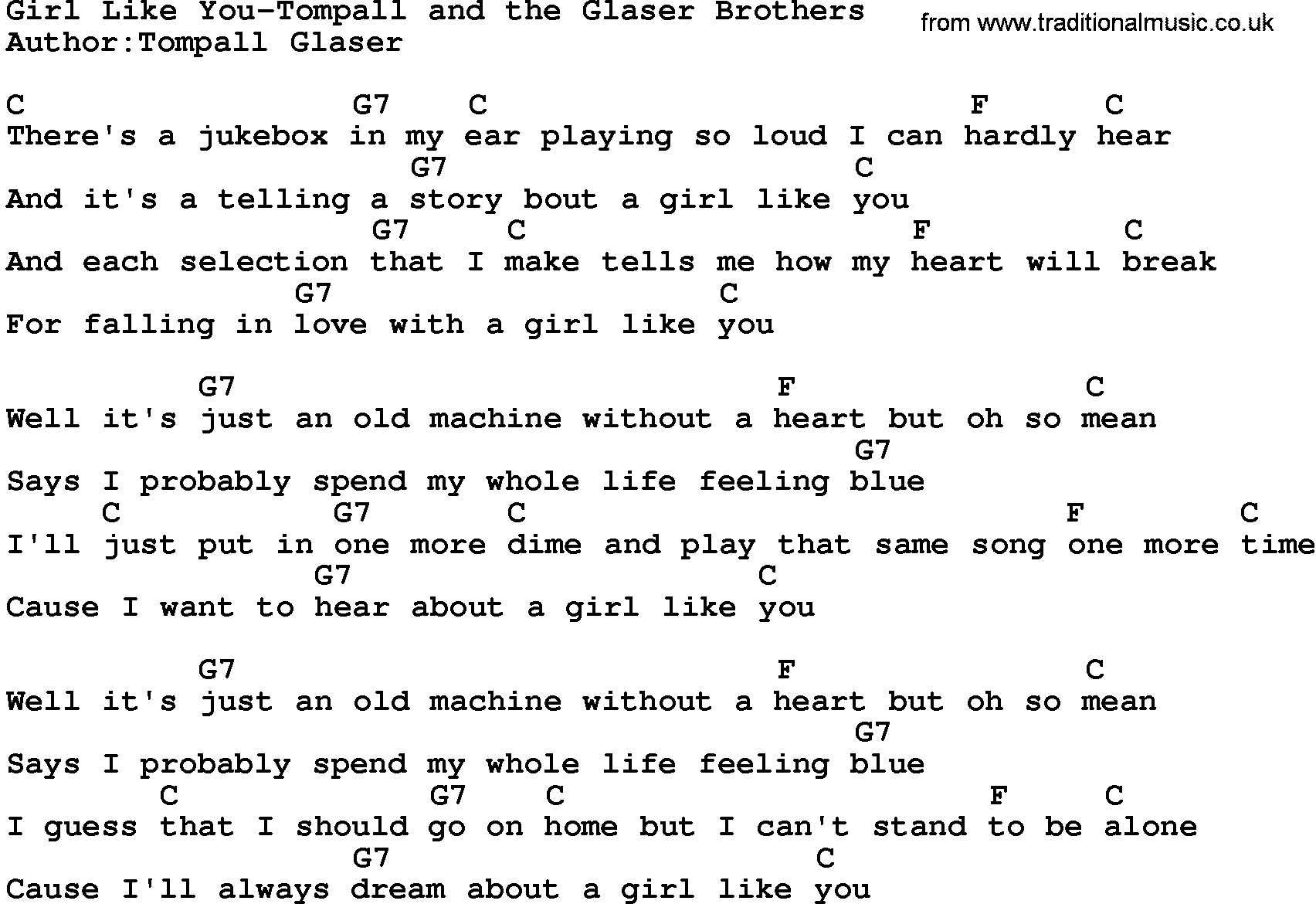 Country Musicgirl Like You Tompall And The Glaser Brothers Lyrics
