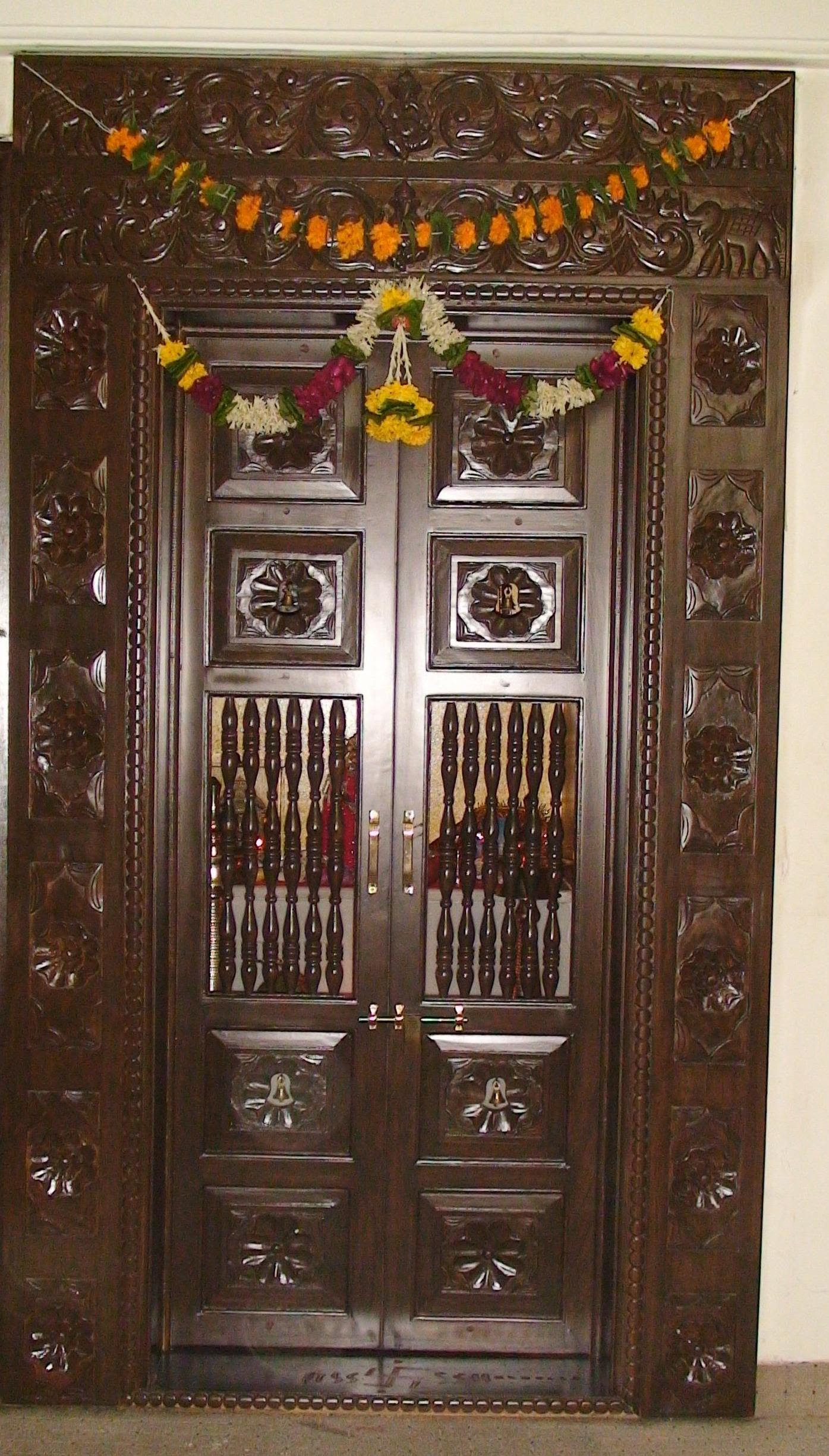 Wooden Carved Pooja Room Door Design Gharexpert