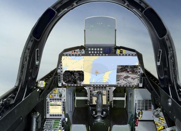 El diseño único de la cabina Gripen a petición de Brasil, con una pantalla panorámica