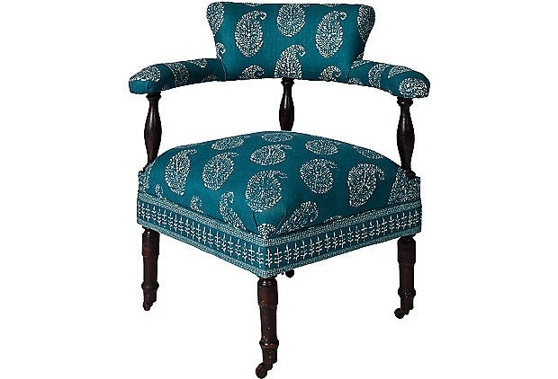 interesting chair in one of my favorite fabrics from Peter Dunham