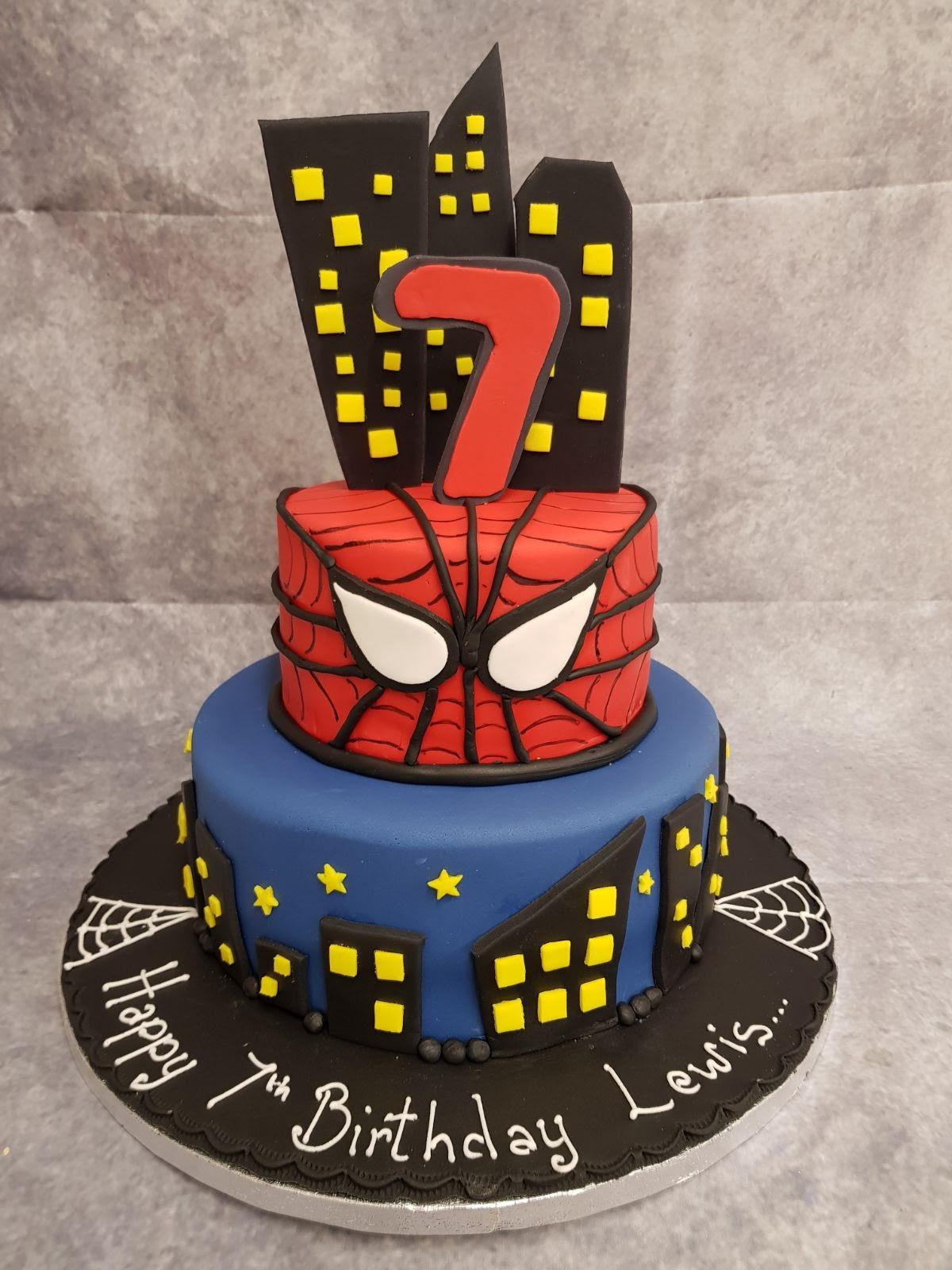 CC037 2 Tier Spider-man Theme Cake - Ravens Bakery of ...