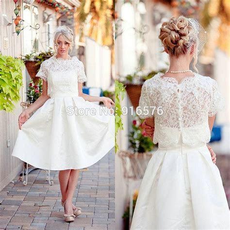 Free Lace Bolero Wedding Dresses 2015 A Line Tea Length