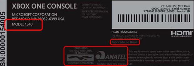VALE ESTE: Imagem no site da Anatel indica fabricação nacional do Xbox One (Foto: Reprodução/Anatel)