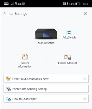 Una aplicación móvil para una impresora inalámbrica