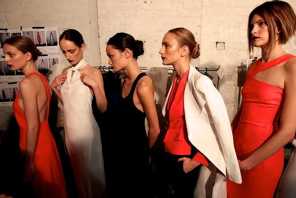"Models backstage before wearing designs by Carla Zampatti during the Spring Summer ""The Strength of Simplicity"" Collection."