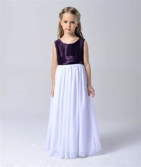Fashion purple and white chiffon girls maxi dresses kids