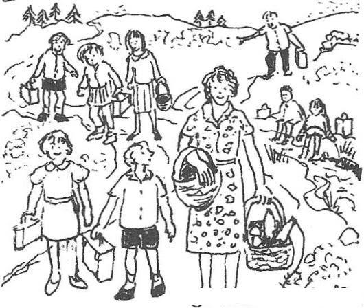 Dibujo De Maestra Con Alumnos En Un Dia De Campo Para Pintar Y