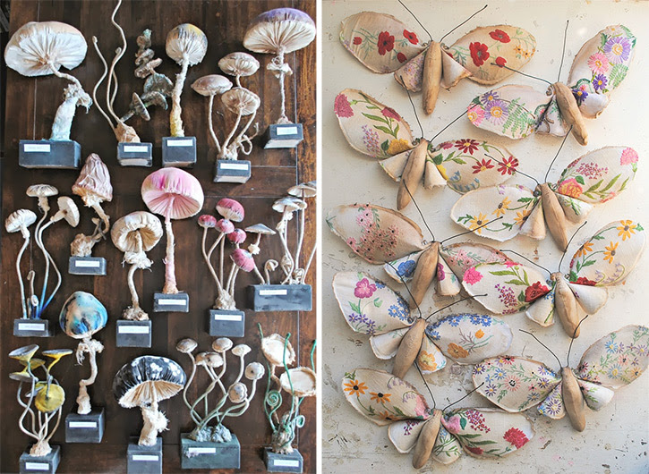 Vintage Textiles Transformed Into Flora and Fauna by Self Taught Artist Mr. Finch textiles sculpture plants animals