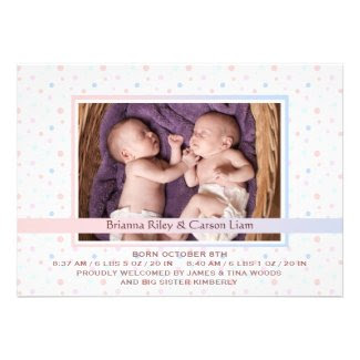 Polka Dot Border Mix Photo Birth Announcement