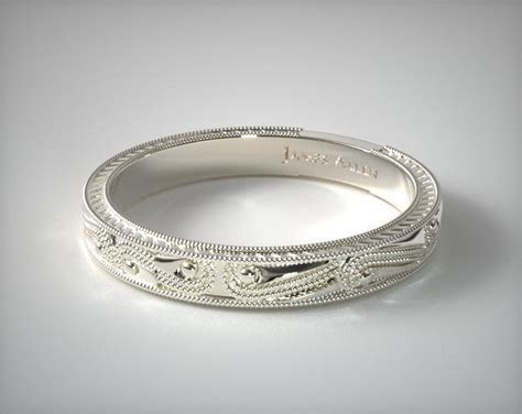 Engraved Wedding Band   14K White Gold   James Allen