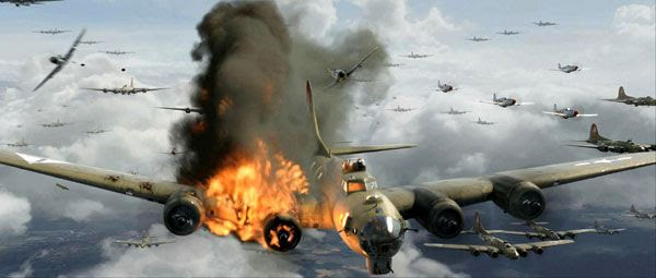 A U.S. B-17 Flying Fortress is attacked by German fighters in RED TAILS.