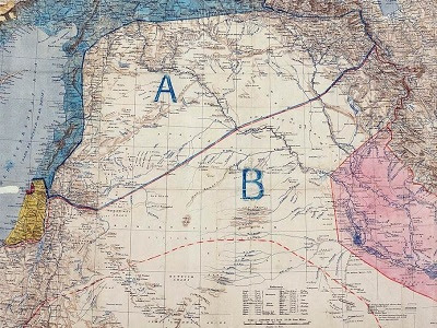 """A 1916 map of the Middle East showing French (""""A"""") and British (""""B"""") areas of control, according to the secret Sykes-Picot agreement."""