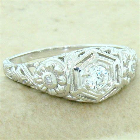 ENGAGEMENT WEDDING ANTIQUE STYLE 925 STERLING SILVER CZ
