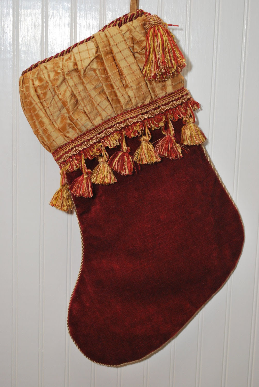 Christmas Stocking, Textured Gold Silk and Red Velvet, Elegant Shirred Cuff, High End Stocking, Tassel and Matching Tassel Fringe