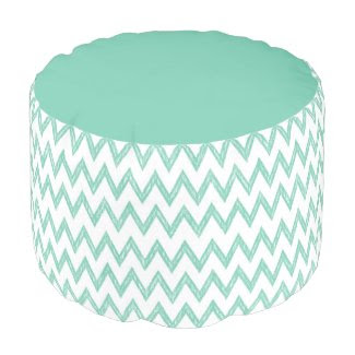 Trendy Pencil Mint Green Chevron Zigzags Pattern Round Pouf