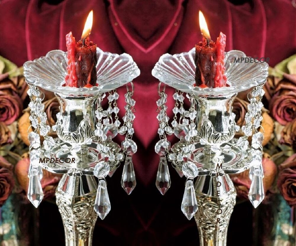 Crystal Prism Dangle Glass Bobeches Candlestick Candle Wax ...