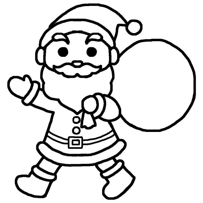 サンタクロース白黒クリスマスの無料イラスト冬の季節行事保育
