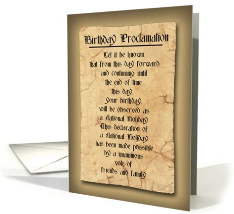 Birthday Humor To Anyone   Proclamation card (589890)