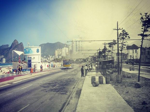 Posto 8 de Ipanema fotografado em 1929 e em 2014 (Foto: Augusto Malta / Marcello Cavalcanti)