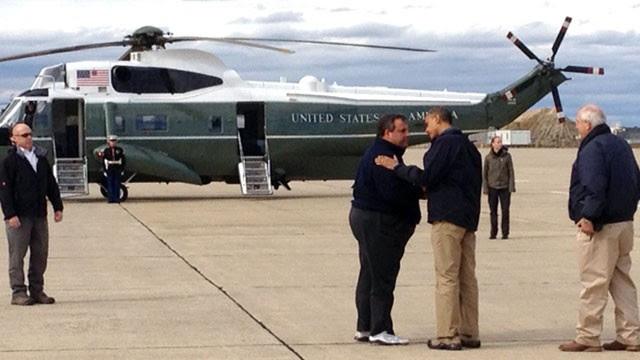 PHOTO: President Barack Obama and NJ Gov. Christie on the tarmac in Atlantic City, New Jersey