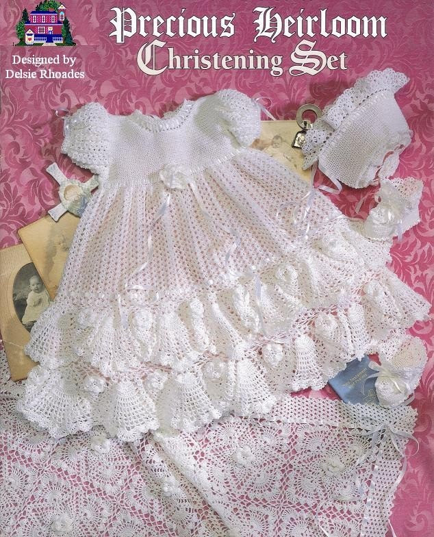 Crochet Christening  Gown Outfit - Baby dress blanket and booties pdf e pattern by Delsie Rhoades