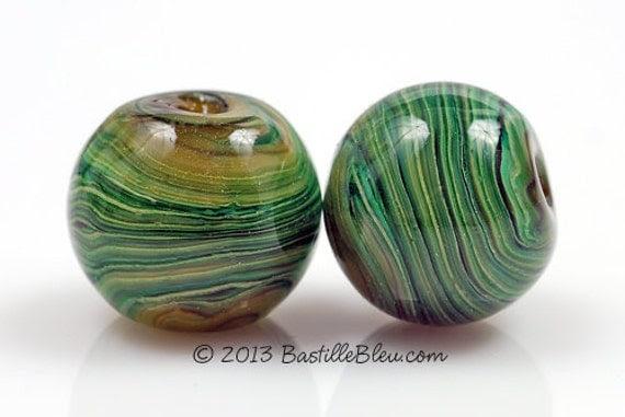 Spring Reeds Handmade Lampwork Glass Beads BASTILLE BLEU Green Striped Rounds