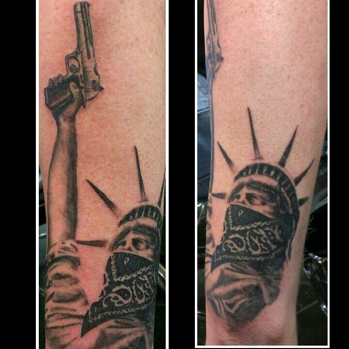 Gangsta Statue Of Liberty Tattoo On Arm