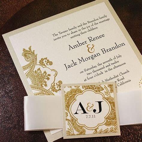 Champagne Gold Bellevue Wedding Invitation Suite   Ribbon