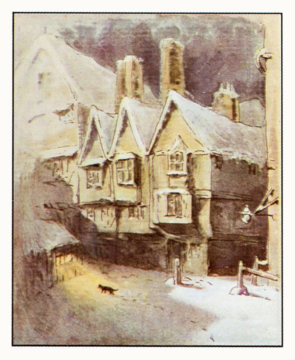 Simpkin in the snow illustration from The Tailor of Gloucester - The Complete Tales of Beatrix Potter F. Warne & Co 1989
